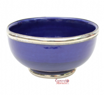 Moroccan Ceramic Bowl with Silver Edge. 12 cm Handmade in Morocco. (Blue Cobalt)